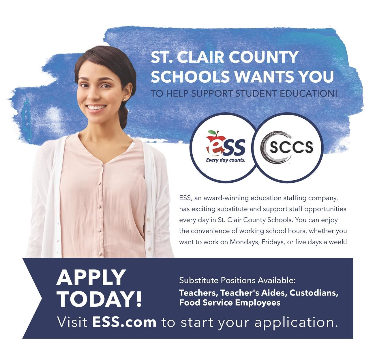 Saint Clair County School Substitute Recruitment Flyer. Contact Jennifer Norman for more info at 2056292841